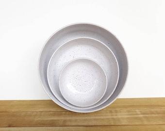 Stoneware Pottery Nesting Bowls in Glossy White Glaze, Ceramic, Rustic Speckled Kitchen Bowls - Set of 3