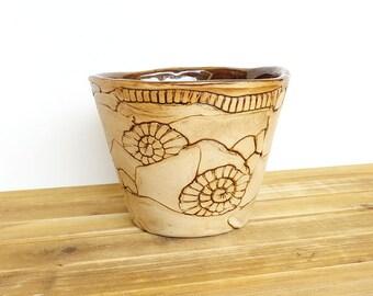 Stoneware Planter Pot in Turkish Amber Glaze, Garden Decor, Garden Pottery, Textured Ceramic Planter