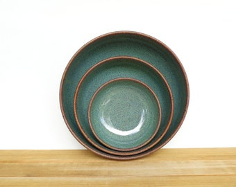 Ceramic Nesting Pottery Bowl Set in Sea Mist Glaze, Green Blue Stoneware Serving Bowl, Teal Glaze - Set of Three