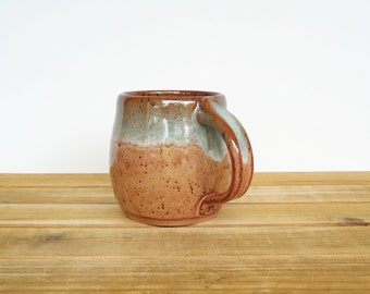 Ceramic Stoneware Mug in Shino and Sea Mist Glazes, Coffee Cup, Rustic Handmade Pottery