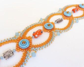 Tangerine and Aqua Beadweaving Bracelet