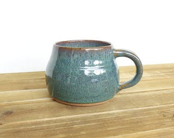 Chunky Coffee Mug, Ceramic Stoneware in Sea Mist Glaze - Single Pottery Mug