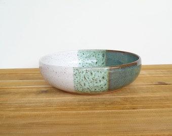 Single Ceramic Stoneware Pasta Bowl in Sea Mist and White Glazes, Rustic Kitchen, Single Ramen Pho Pottery Bowl