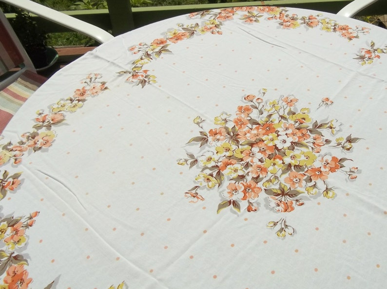 Vintage 50s Charming Rayon Dogwood and Polka Dots on Tablecloth for your Shabby Farm House Cottage or Wedding in hues of peach yellow brown