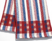 Handwoven Kitchen Towel Red White Blue