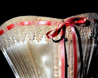 Traditional Victorian Wedding Corset- Ivory Lingerie, wedding clothing, boned,boudoir