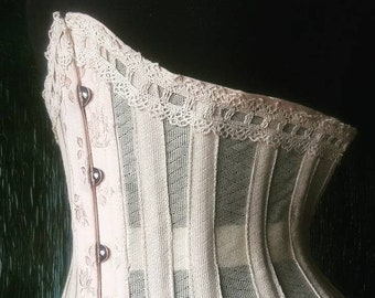 Stealth bespoke custom made to measure steel boned antique style bobinette net waist cincher by La belle fairy