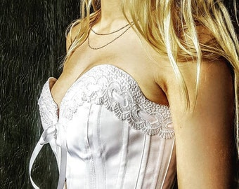 Custom Made Just for You Glowing white satin coutil bespoke cupped overbust wedding corset  perfect heirloom bridal lingerie made to measure