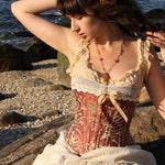 Custom for farleyme....Bronze Steampunk Corset- Brocade Silk- Steampunk Wedding- Lingerie