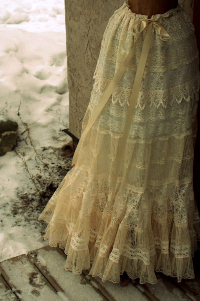 Cream Lace Skirt Petticoat for Romantic Victorian Vintage image 0