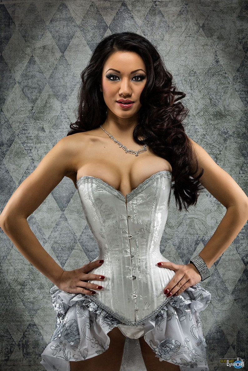 Wedding Corset Victorian Overbust Lingerie White and image 0