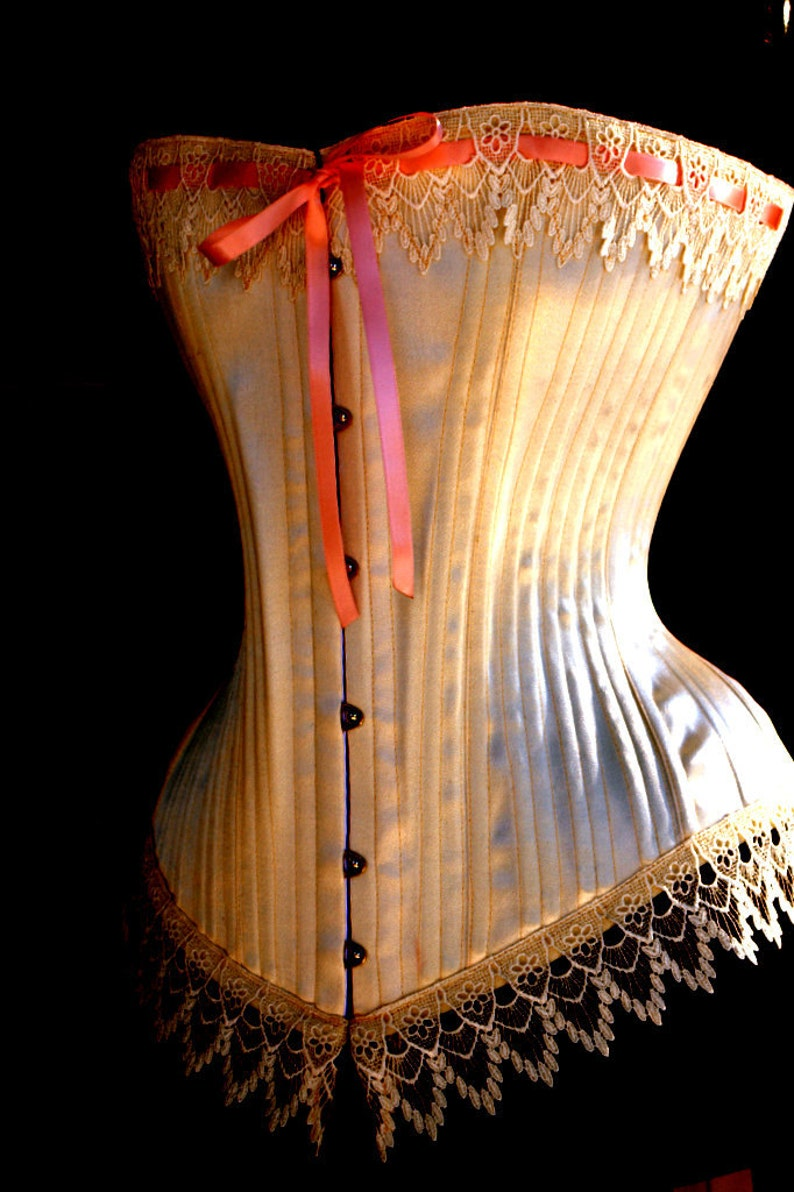 Traditional Handmade Ivory  Victorian Overbust Wedding Corset image 0