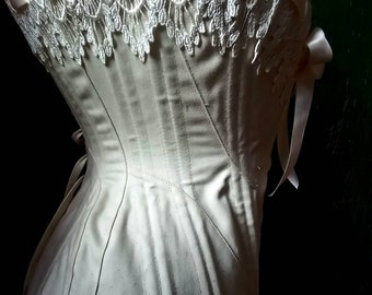 Bespoke Natural cotton coutil with Venice lace handmade in Canada Edwardian steel boned corset historic replica custom made just for you