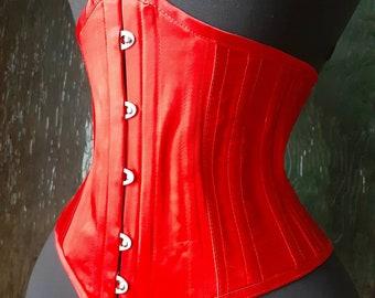 Classic Fire Engine Red handmade steel boned Summer underbust corset perfect waist cincher to achieve an hourglass shape