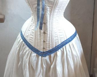 Steampunk Wedding Dress: Ivory and Blue Corset & Skirt