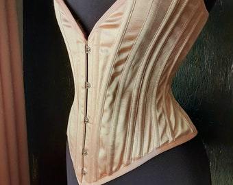 Handmade Victorian steel boned hourglass Ballet pink satin plunge coutil made to measure overbust corset with external boning channels
