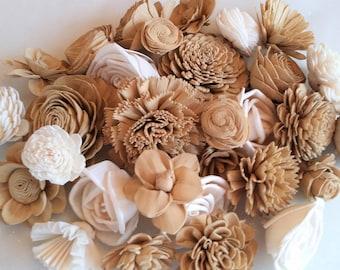 Set of 30 Wedding Flower #20 Assortment Ivory Natural-raw bouqets floral arrangement crafts Sola Wood Flowers home decor