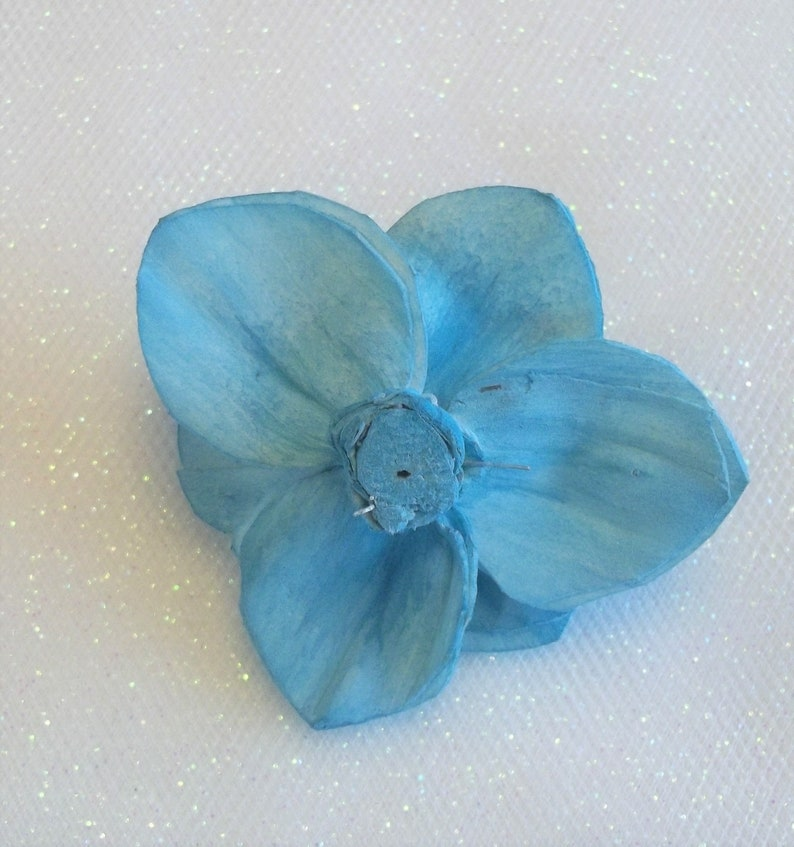 Set of 10  Sola Wood Flowers  Lily  2 size  Desert Turquoise  Painted  Wedding Flowers Home Decor Bouquet Crafts Sola Wood Evan