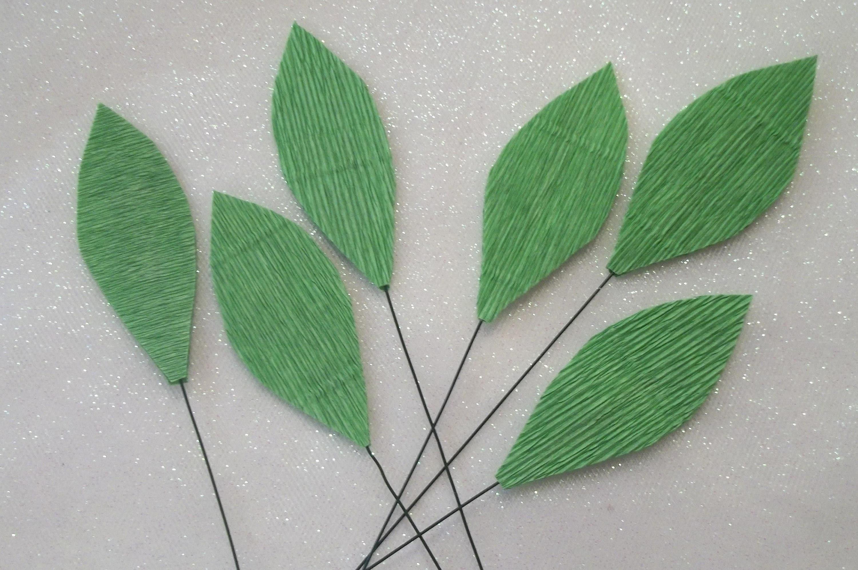 Paper Leavesfloral Paper Leaveshandmadewire Stemsset Of Etsy