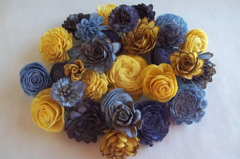 Sola Wood Flower Assortment NavyDyedWedding FlowersDIY Home DecorDIY Flowers Set of 30 Sola Wood FlowersSkinsGolden Yellow Blue