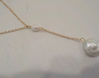18K Gold-Plated Genuine Pearl Necklace; bridal jewelry; bridesmaids jewelry; pearl jewelry