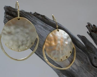 18K Matte Gold-Plated Hammered Disc Earrings