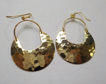 18K Gold-Plated Hammered Earrings