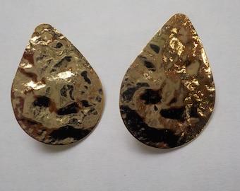18K Gold-Plated Hammered Teardrop Earrings; sterling silver post