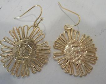 """18K Gold-Plated """"Sunburst"""" Earrings"""