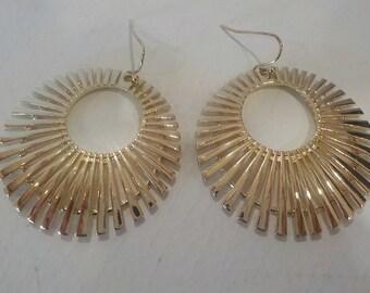 """Gold """"Fan"""" Statement Earrings"""