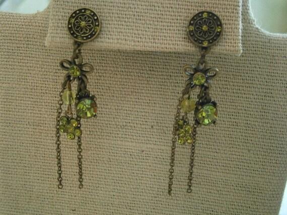 Bohemian Earrings, Vintage Earrings, Rhinestone Ea