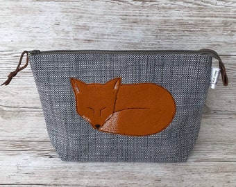 28989bf8f54 Sleepy Red Fox applique medium zipped project bag, knitting bag, toiletry  bag