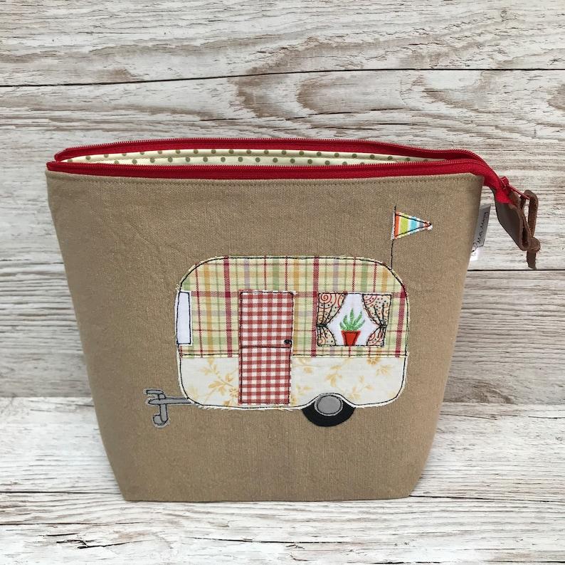 wash bag toiletry bag Retro Caravan applique zipped small project bag