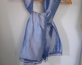 Shot silk wrap with crystal drop fringe, Lavender blue medium large- ready made lovely wedding shawl Ready to ship