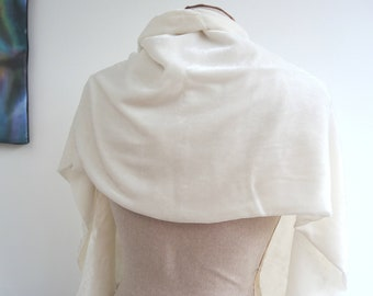 Ivory silk velvet wrap or wide scarf - Ready to ship -classic colour double width double sided luxury elegant piece bridal wedding party