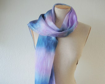 NEW Dusky Lavender large silk scarf - hand-dyed silk in blue grey lilac mauve - generous floaty unique wearable art OOAK ready to ship