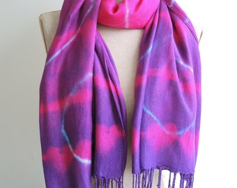 Shibori Hearts ombre pashmina style warm scarf wrap long hand-dyed pink purple fringed upcycled viscose woolly feel ready to ship unique