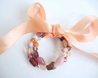 Peach Bow bangle -Ready to ship glass & lampwork beads, memory wire  -flexible size bracelet child adult gift- with free presentation bag!