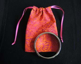 Ready to ship Fireflower Batik cotton pouch- for any small/medium gifts/ items - orange yellow and pink unlined- or made to order