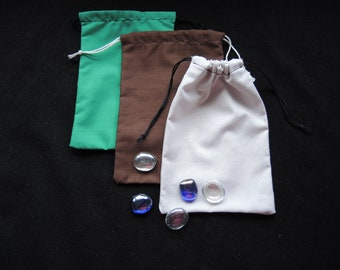 Pouches Oblong cotton Ready to ship -medium gift bag reusable gaming pieces storage dice present gift wrap pouch brown blue-green light-grey