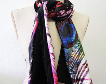 Black/peacock scarf satin and velvet - digital print pink red blue white cotton velvet and patterned satin classic design- ready to ship