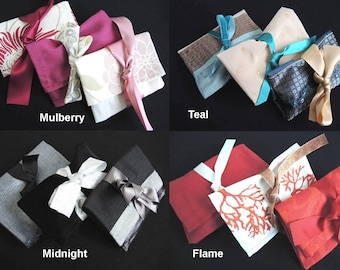 Set of 3 upcycled gift bags for medium items Posh reusable sustainable fabric wrap presentation medium pouches furoshiki- ready to ship pack