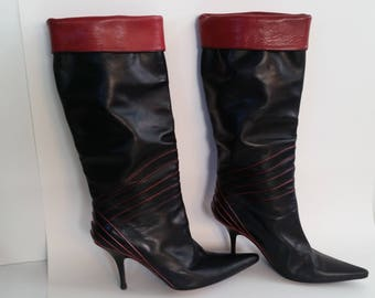 8d406a5dd9e New wave Punk vintage 80s 90s Black leather Boots Soula Italian Funky  pointy 3