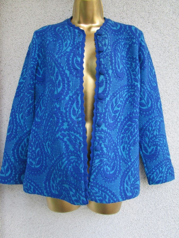 Vintage 60's catalina cardigan Sweater paisly Jacq