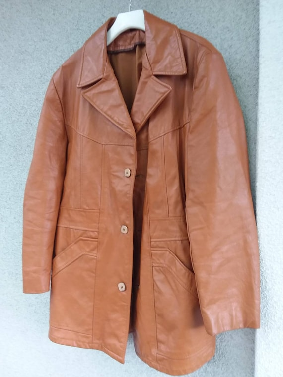 Funky Men's vintage Superfly 70s leather jacket Bl