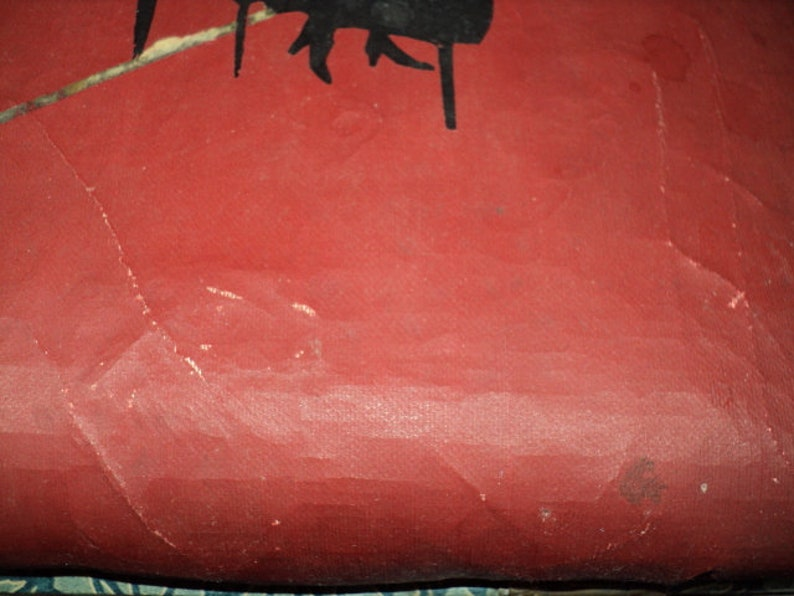 Vintage Vinyl Covered Red and Black--With Legs and Lid Foot Rest