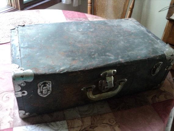 Primitive Antique Metal Suitcase--Industrial Rusty