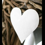 Large White Glitter Puffy Metal Heart Ornament