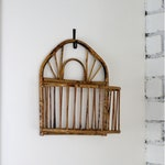 Vintage Boho Burnt Bamboo Wall Basket Planter/Hanging basket/Rattan/Organizer