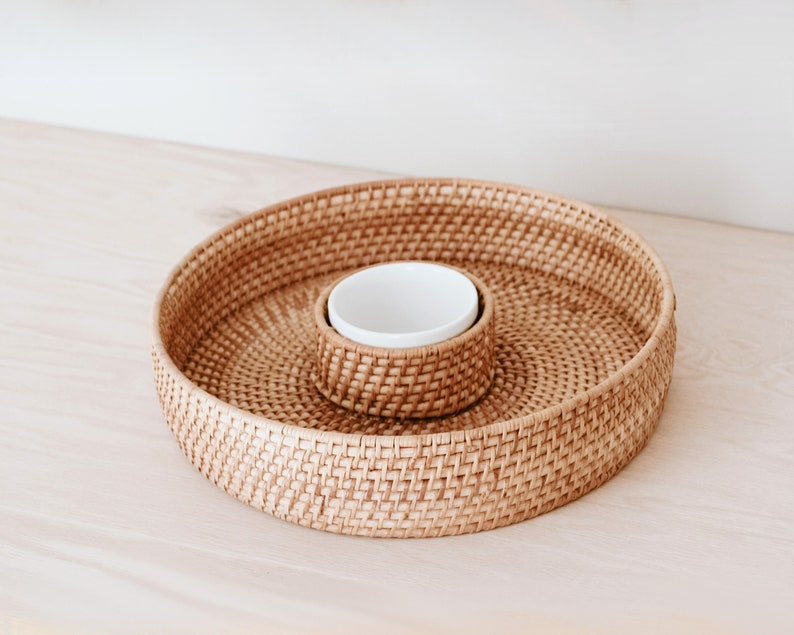 Vintage Round Woven Rattan Chip and Dip Tray/Boho Kitchen image 0
